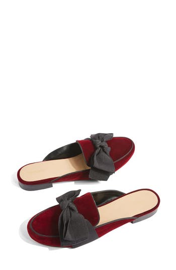 Topshop Luna Bow Detail Backless Loafers - Burgundy