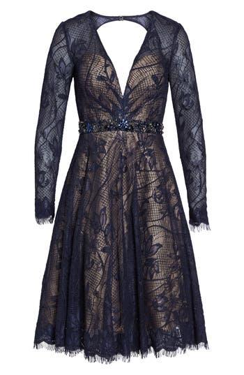 MAC Duggal Open Back Lace A-Line Dress, Blue