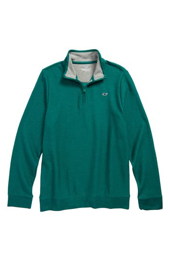 Boy's Vineyard Vines Quarter Zip Pullover, Size S (8-10) - Green