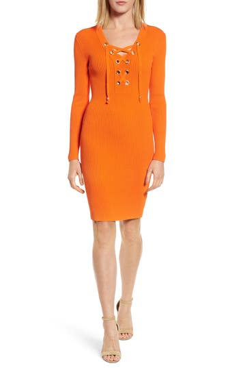 Michael Michael Kors Lace-Up Ribbed Dress, Orange