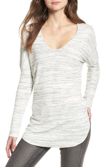 Women's Soprano Scoop Neck Space Dye Tee, Size X-Small - Ivory