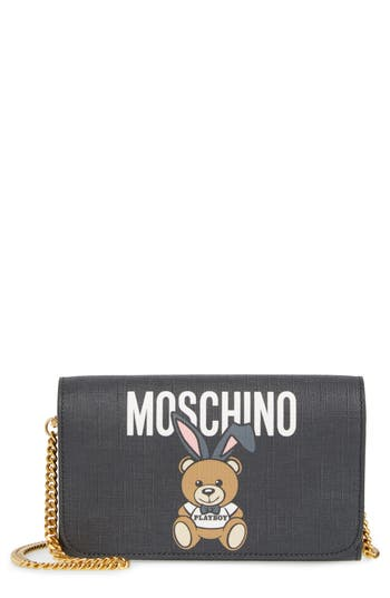 Women's Moschino X Playboy Bunny Bear Leather Wallet On A Chain - Black