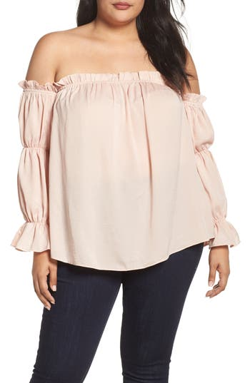 Plus Size Women's Soprano Off The Shoulder Puff Sleeve Top, Size 1X - Pink