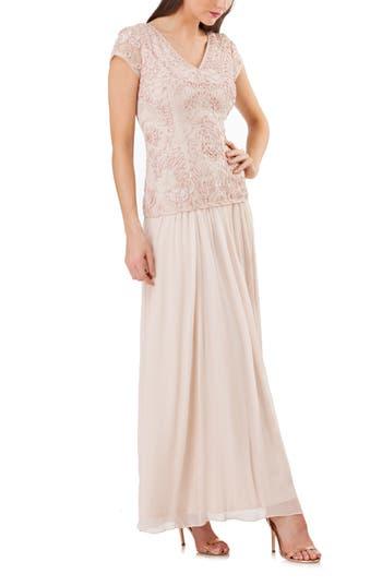 Js Collections Soutache Applique Gown, Beige