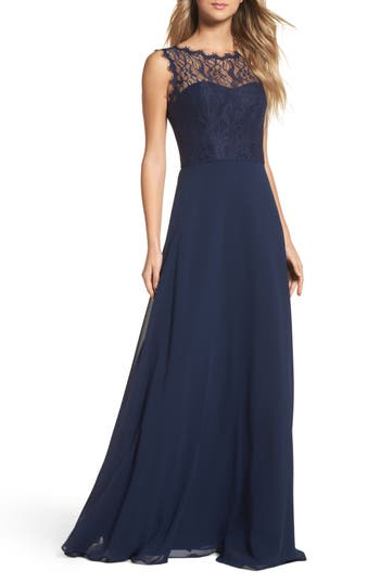 Hayley Paige Occasions Lace & Chiffon A-Line Gown, Blue