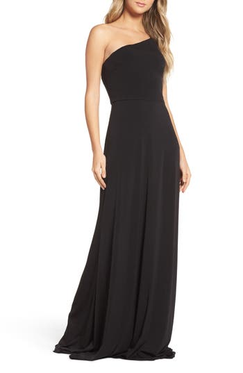 Amsale One-Shoulder Jersey Gown, Black