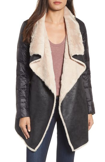 Women's Bcbgeneration Mixed Media Faux Shearling Puffer Jacket, Size X-Small - Black