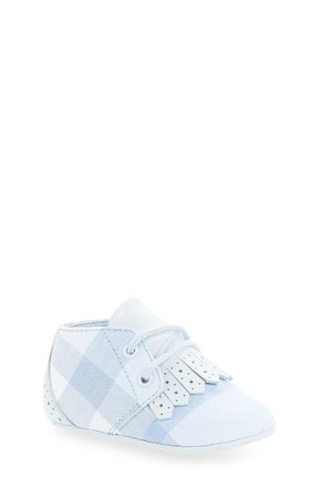 Infant Girls Burberry Tom LaceUp Crib Shoe Size 0US  15EU  Blue