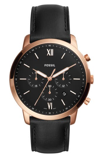 Men's Fossil Neutra Chronograph Leather Strap Watch, 44Mm
