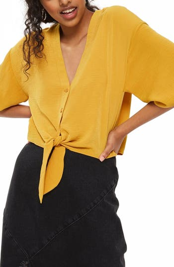 Women's Topshop Tia Tie Front Shirt, Size 2 US (fits like 0) - Yellow