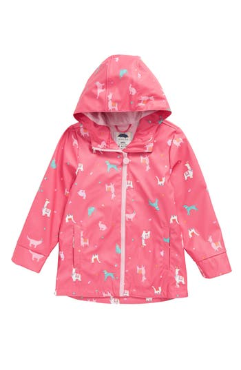 Girl's Joules Print Rain Jacket, Size 5Y - Pink