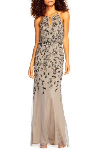 Adrianna Papell Beaded Halter Neck Mermaid Gown, Grey