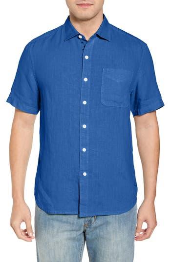 Men's Tommy Bahama Seaspray Breezer Regular Fit Linen Sport Shirt, Size Small - Blue