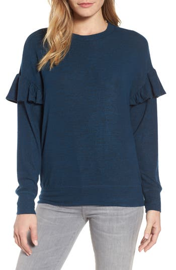 Women's Bobeau Ruffle Sleeve Sweatshirt, Size Small - Blue/green