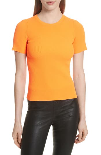 Women's Helmut Lang Essential Ribbed Tee, Size X-Small - Orange