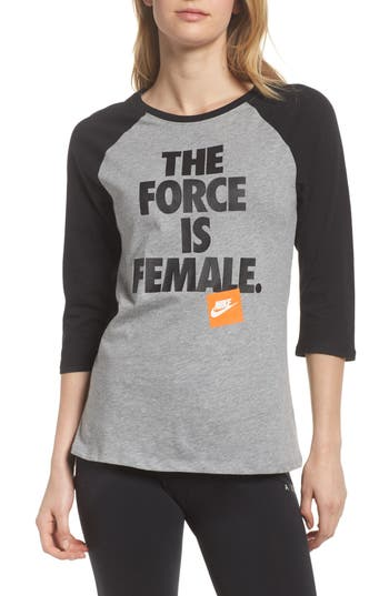 Nike Sportswear The Force Is Female Raglan Tee, Grey