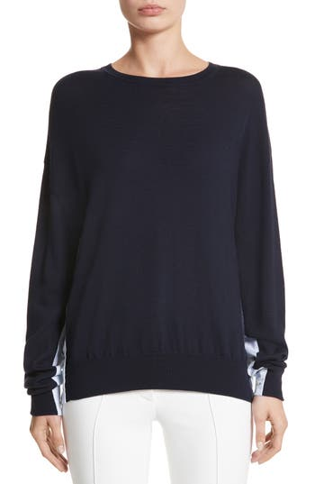Adam Lippes Cotton Gusset Merino Wool Sweater, Blue