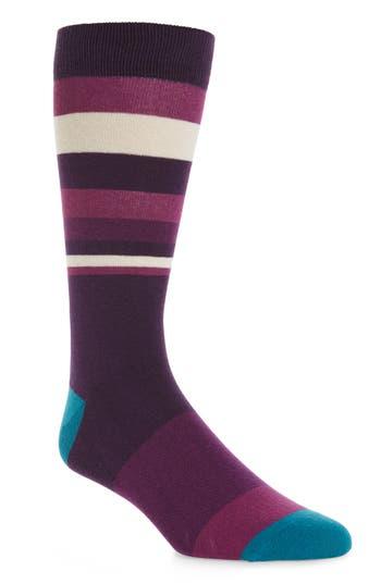 Men's Ted Baker London Striped Socks, Size One Size - Purple