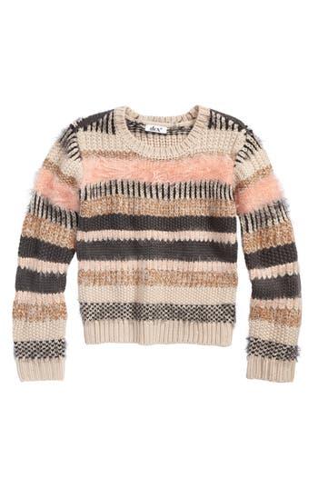 Girl's Dex Stripe Sweater, Size S (7-8) - Ivory