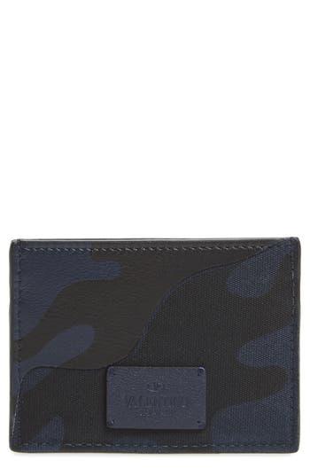Men's Valentino Garavani Camo Nylon & Leather Card Case - Blue