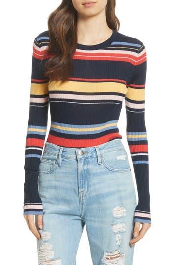 Frame Stripe Crewneck Merino Wool Blend Sweater, Blue