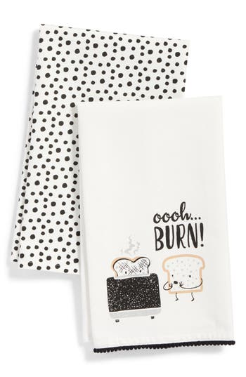 Levtex Burn Set Of 2 Dish Towels, Size One Size - Black