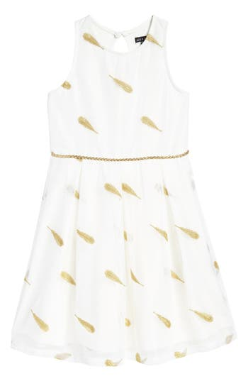 Girls Ava  Yelly Feather Embroidered Dress
