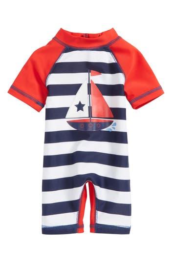 Infant Boys Little Me Sailboat Upf 50 OnePiece Rashguard Swimsuit