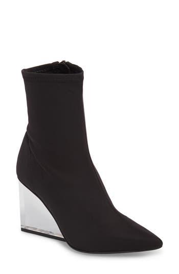 Jeffrey Campbell Siren Clear Wedge Sock Bootie, Black