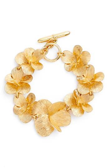 Women's Oscar De La Renta Brushed Texture Flower Bracelet