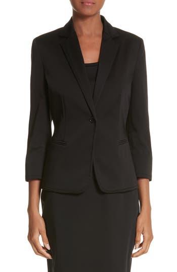 Women's Max Mara Zambra Stretch Cotton Blazer, Size 2 - Black