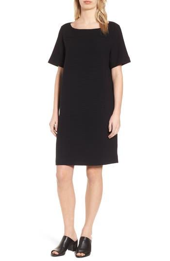Eileen Fisher Jacquard Shift Dress, Black
