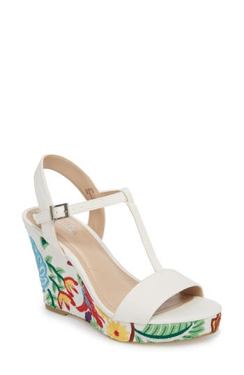 Charles By Charles David Laney Embroidered Wedge Sandal- Ivory