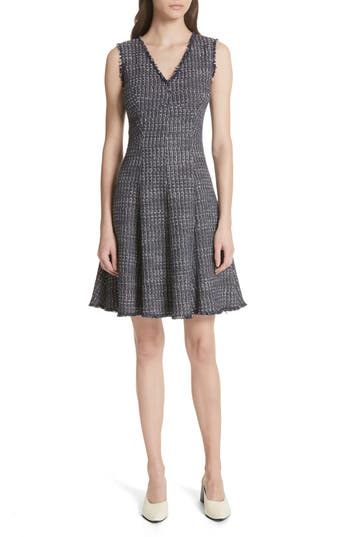 Rebecca Taylor Multi Tweed Fit & Flare Dress, Blue