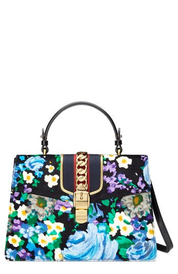 Gucci Medium Sylvie Floral Top Handle Velvet Shoulder Bag - Black