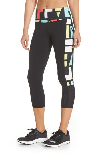 Brooks Greenlight High Waist Capris, Black