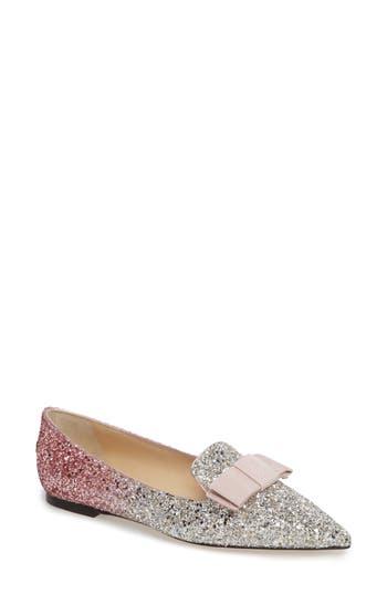 Women's Jimmy Choo Glitter Bow Flat, Size 6US / 36EU - Pink