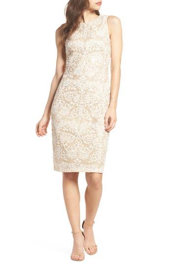 Eliza J Embroidered Sequin Mesh Sheath Dress, Beige
