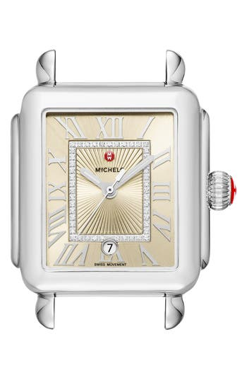 MICHELE Deco Madison Champagne Diamond Dial Watch Head, 33mm x 35mm