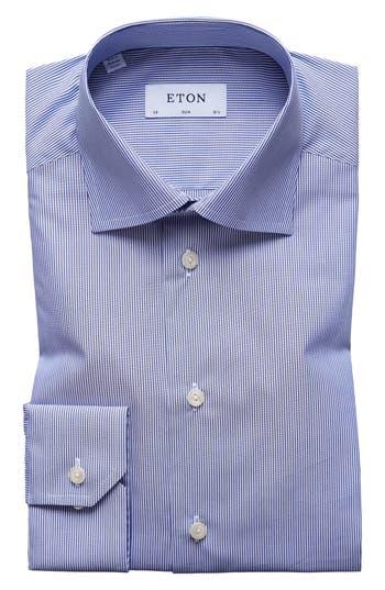 Men's Eton Slim Fit Stripe Dress Shirt, Size 15 - Blue