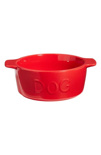 Waggo Too Hot Two Handle Ceramic Dog Bowl, Size Small - Red