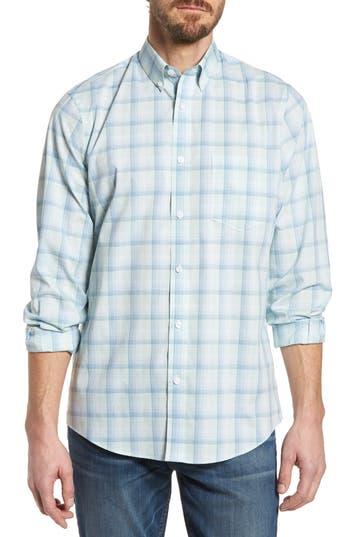 Nordstrom Shop Tech-Smart Regular Fit Plaid Sport Shirt, Blue/green
