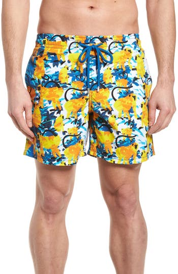 Vilebrequin Happy Monkeys Print Swim Trunks, Blue