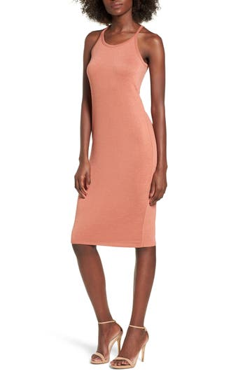 Leith Melange Body-Con Dress, Coral