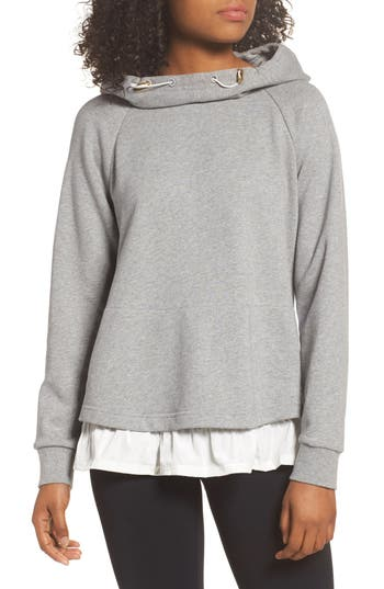 Kate Spade New York Ruffle Hoodie Sweatshirt, Grey