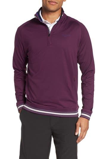 Men's Ted Baker London Trim Fit Quarter Zip Golf Pullover, Size 6(xxl) - Purple