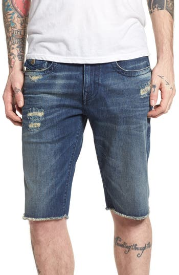 Men's Big & Tall True Religion Brands Jeans Ricky Relaxed Fit Shorts, Size 42 - Blue