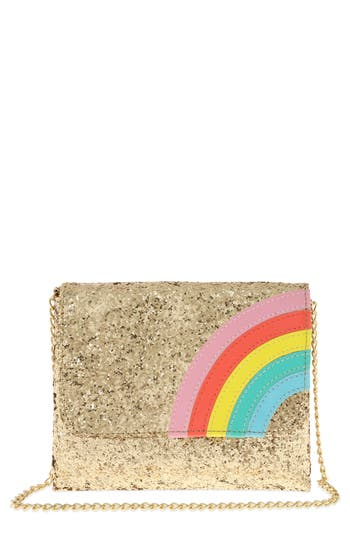 Girl's Capelli New York Glitter Rainbow Crossbody Bag - Metallic