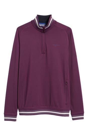 Men's Ted Baker London Trim Fit Quarter Zip Golf Pullover, Size 2(s) - Purple