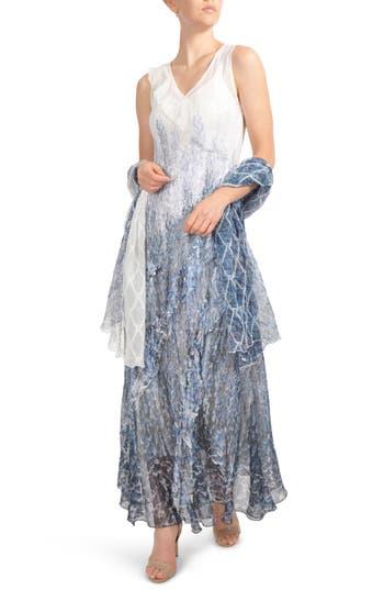 Komarov Ruffled Charmeuse & Chiffon Gown With Wrap, Blue
